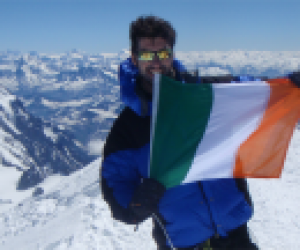 On summit of Mont Blanc, highest mountain in western Europe, 4,810m. June 2010, France