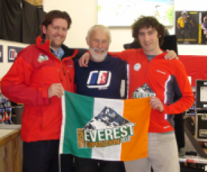 Cian & Robbie with climbing legend Sir Chris Bonnington