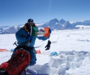 Cian on summit of Cho Oyu with Mt Everest and Lhtose in background. 1st October 2011