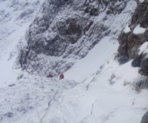 Climbing steep ice and rock on the Ledge, Ben Nevis March 2012