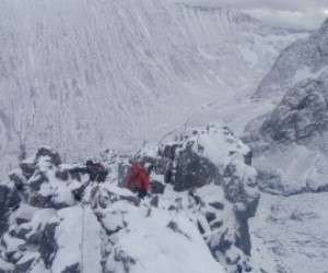 Climbing up the Ledge on Ben Nevis, March 2012